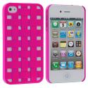 Apple iPhone 4 / 4S Hot Pink Weave Hard Rubberized Back Cover Case Angle 2