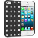 Apple iPhone 5 Black Handwoven Hard Rubberized Back Cover Case Angle 1