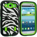 Samsung Galaxy S3 Black / Neon Green Zebra Hybrid Zebra 3-Piece Case Cover Angle 1