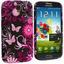 Samsung Galaxy S4 Pink Butterfly Flower TPU Design Soft Case Cover Angle 2