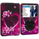 Apple iPod Classic Purple Love Hard Rubberized Design Case Cover Angle 1