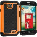 LG Optimus L70 Exceed 2 Realm LS620 Black / Orange Hybrid Rugged Hard/Soft Case Cover Angle 1