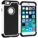 Apple iPhone 6 6S (4.7) Black / White Hybrid Rugged Hard/Soft Case Cover Angle 1