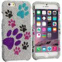 Apple iPhone 6 Plus 6S Plus (5.5) Dog Paw Bling Rhinestone Case Cover Angle 1