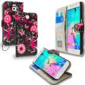 Samsung Galaxy S6 Pink Butterfly Flower Leather Wallet Pouch Case Cover with Slots Angle 1