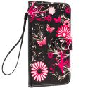 Samsung Galaxy S6 Pink Butterfly Flower Leather Wallet Pouch Case Cover with Slots Angle 5