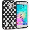 Samsung Galaxy S6 Polka Dot White Hybrid Deluxe Hard/Soft Case Cover Angle 1