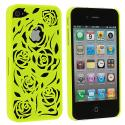 Apple iPhone 4 / 4S Green Rose Hard Rubberized Back Cover Case Angle 1