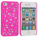 Apple iPhone 4 / 4S Hot Pink Birds Nest Hard Rubberized Back Cover Case Angle 1
