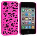 Apple iPhone 4 / 4S Hot Pink Birds Nest Hard Rubberized Back Cover Case Angle 2