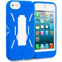 Apple iPhone 5/5S/SE Blue / White Hybrid Heavy Duty Hard/Soft Case Cover with Stand Angle 1