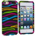 Apple iPod Touch 5th 6th Generation Rainbow Zebra on Black Hard Rubberized Design Case Cover Angle 1