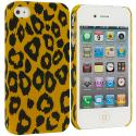 Apple iPhone 4 / 4S Brown Yellow Leopard Hard Rubberized Back Cover Case Angle 1