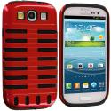 Samsung Galaxy S3 Black / Red Hybrid Ribs Hard/Soft Case Cover Angle 2