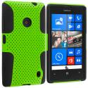 Nokia Lumia 520 Black / Neon Green Hybrid Mesh Hard/Soft Case Cover Angle 1