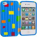 Apple iPhone 4 / 4S Baby Blue Square TPU Design Soft Case Cover Angle 1