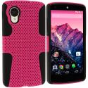 LG Google Nexus 5 Black / Hot Pink Hybrid Mesh Hard/Soft Case Cover Angle 1
