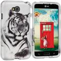 LG Optimus L70 Exceed 2 Realm LS620 Tiger 2D Hard Rubberized Design Case Cover Angle 1