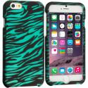 Apple iPhone 6 6S (4.7) Black/Baby Blue Zebra 2D Hard Rubberized Design Case Cover Angle 1