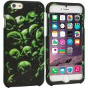 Apple iPhone 6 Plus 6S Plus (5.5) Green Skulls 2D Hard Rubberized Design Case Cover Angle 1