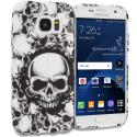 Samsung Galaxy S7 Black White Skulls TPU Design Soft Rubber Case Cover Angle 1