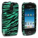 Samsung Exhibit 4G T759 Black / Baby Blue Zebra Design Crystal Hard Case Cover Angle 1