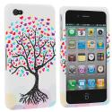 Apple iPhone 4 / 4S Love Tree on White Design Crystal Hard Case Cover Angle 1