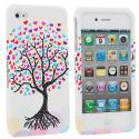 Apple iPhone 4 / 4S Love Tree on White Design Crystal Hard Case Cover Angle 2