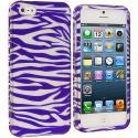 Apple iPhone 5/5S/SE Purple / White Zebra Hard Rubberized Design Case Cover Angle 1