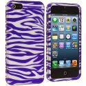 Apple iPhone 5/5S/SE Purple / White Zebra Hard Rubberized Design Case Cover Angle 2
