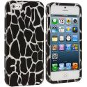 Apple iPhone 5/5S/SE Black Giraffe Hard Rubberized Design Case Cover Angle 1