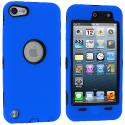 Apple iPod Touch 5th 6th Generation Blue Deluxe Hybrid Deluxe Hard/Soft Case Cover Angle 1