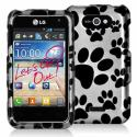 LG Motion MS770 Dog Paw Design Crystal Hard Case Cover Angle 1