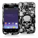 ZTE Avid 4G N9120 Black White Skulls Hard Rubberized Design Case Cover Angle 1