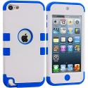 Apple iPod Touch 5th 6th Generation Blue / White Hybrid Tuff Hard/Soft 3-Piece Case Cover Angle 1
