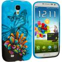 Samsung Galaxy S4 Blue Butterfly Flower TPU Design Soft Case Cover Angle 1