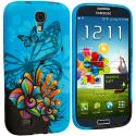 Samsung Galaxy S4 Blue Butterfly Flower TPU Design Soft Case Cover Angle 2