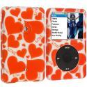 Apple iPod Classic Hearts Love Hard Rubberized Design Case Cover Angle 1