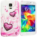Samsung Galaxy S5 Pink Heart on White TPU Design Soft Case Cover Angle 1