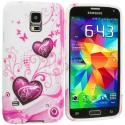 Samsung Galaxy S5 Pink Heart on White TPU Design Soft Case Cover Angle 2