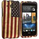 HTC Desire 601 USA Flag 2D Hard Rubberized Design Case Cover Angle 1
