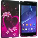 Sony Xperia Z2 Purple Love 2D Hard Rubberized Design Case Cover Angle 1