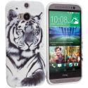 HTC One M8 White Tiger TPU Design Soft Case Cover Angle 1