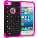 Apple iPhone 5/5S/SE Hot Pink / Black Hard Rubberized Diamond Case Cover Angle 1