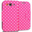 Samsung Galaxy S3 Pink White Dot Leather Wallet Pouch Case Cover with Slots Angle 1