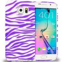 Samsung Galaxy S6 Purple / White Zebra TPU Design Soft Rubber Case Cover Angle 1