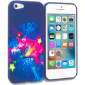 Apple iPhone 5/5S/SE Pink Blue Star TPU Design Soft Rubber Case Cover Angle 1