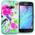 For Samsung Galaxy J1 2016 / Amp 2 / Express 3 / Luna S120 Blue Bird Pink Flower TPU Design Soft Rubber Case Cover Angle 1