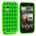Samsung Fascinate i500 Neon Green Checkered TPU Rubber Skin Case Cover Angle 1