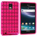 Samsung Infuse 4G i997 Hot Pink Checkered TPU Rubber Skin Case Cover Angle 1